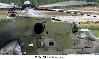hélicoptère, militaire, air-base