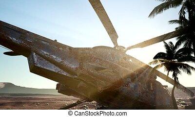 hélicoptère militaire, désert, rouillé, vieux, coucher soleil