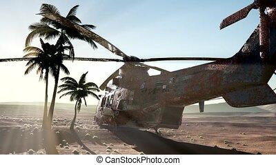 hélicoptère, militaire, vieux, désert, rouillé, coucher soleil