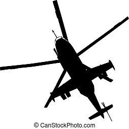 hélicoptère, silhouette