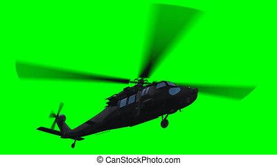 hélicoptère, voler, vert