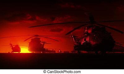 hélicoptères, levers de soleil