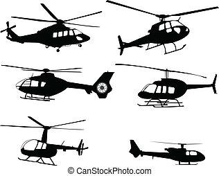 hélicoptères, silhouettes