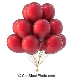 hélium, ballons, rouges, coloré, tas