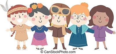 héritage, femme, gosses, déguisement, filles, national