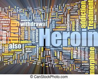 héroïne, nuage, incandescent, mot