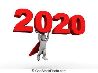 héros, voler, porter, 2020, homme affaires, super, 3d