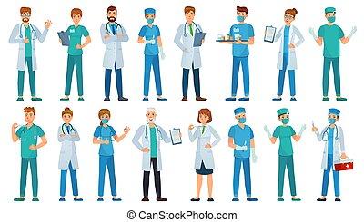 hôpital, caractères, ouvriers, ensemble, staff., dessin animé, pharmacien, vecteur, illustration, ambulance, médecins, uniforme, clinique, infirmière