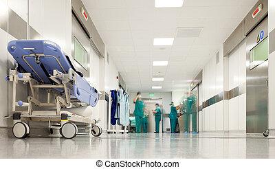 hôpital, chirurgie, couloir