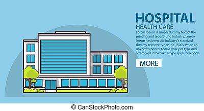 hôpital, concept, bannière, medical., bâtiment.
