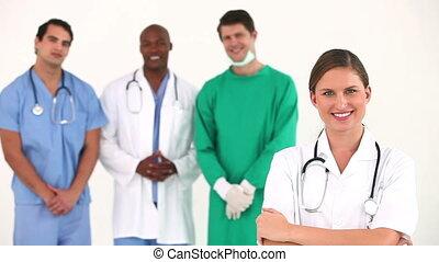 hôpital, ensemble, équipe, poser