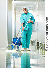 hôpital, femme, nettoyage, salle