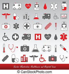 hôpital, healthcare, icônes