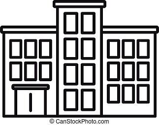 hôpital, icône, contour, style, mental, bâtiment