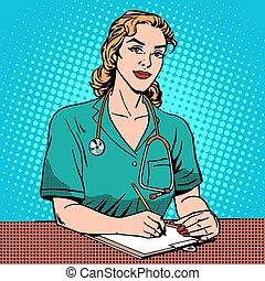 hôpital, interne, bureau, devant