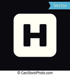 hôpital, isolé, illustration, signe, arrière-plan., vecteur, noir, blanc, icône