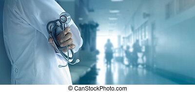 hôpital, main, stéthoscope, fond, docteur