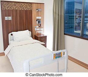 hôpital, moderne, vide, lit