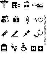 hôpital, monde médical, icône, collection, internet