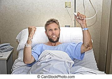 hôpital, patient, salle, nerveux, fâché, désordre, lit, urgent, appeler, infirmière, sentiment, bouton, mensonge, homme