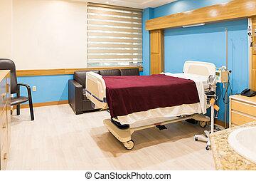 hôpital, salle vide, lit, équipé