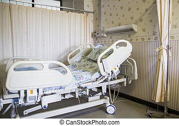 hôpital, salle vide, lit
