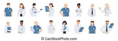 hôpital, scrubs., masque, portrait, figure, ensemble, monde médical, staff., docteur, vecteur, illustration, stéthoscope, médecins, manteaux, blanc, étudiant, infirmière