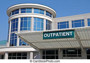 hôpital, signe, entrée, patient