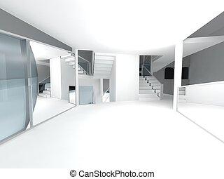 hôpital, space., attente, propre, conceptuel, salle, architecture