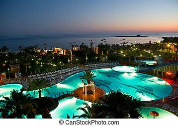 hôtel, coucher soleil, luxery
