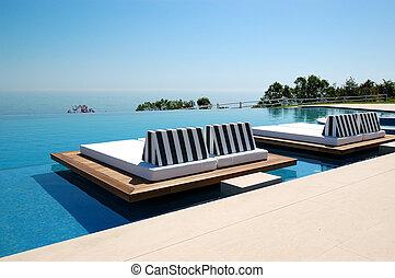 hôtel, infinité, moderne, pieria, luxe, grèce, plage, piscine, natation