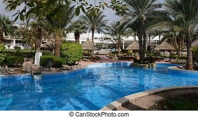 hôtel, luxe, piscine, natation