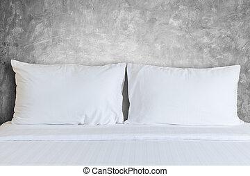hôtel, oreiller, salle, blanc, feuilles, literie