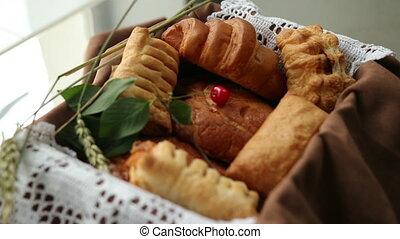 hôtel, pain, frais, breads., divers, petit déjeuner, chignons, assortiment, cookies.