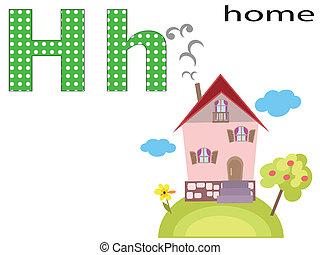 h, alphabet, enfants