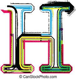 h, grunge, coloré, lettre