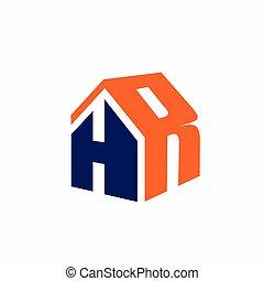 h, maison, formé, r, lettre, logo