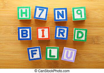 h7n9, jouet, grippe, oiseau, bloc