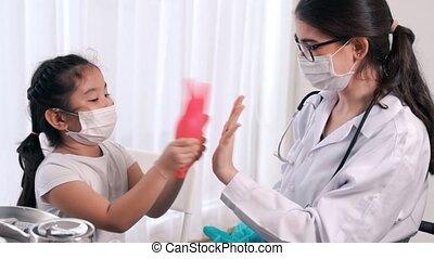 habile, docteur, vaccination, école, hôpital, visites, girl