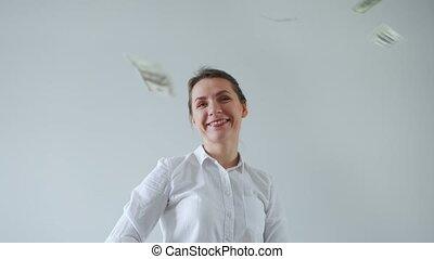 habillé, formellement, mouvement, from., femme, pluie, lent, heureux, faisant argent