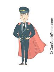 habillé, pilote, superhero., jeune, caucasien