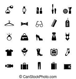 habillement, assortiment, accessoire, noir, icônes