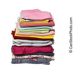 habillement, pile, chemises