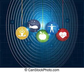 habiter sain, rond, symboles