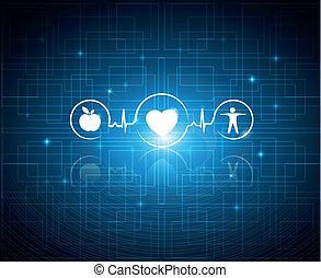 habiter sain, technologie, fond, symboles