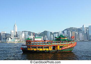 habour, hong, chinois, kong, bateau, victoria