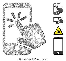 hachuré, smartphone, maille, vecteur, déclic