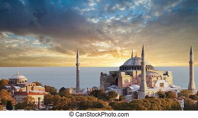 hagia, byzantin, architecture., istanbul., célèbre, monument, mondiale, sophia