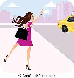 hails, taxi, femme, taxi