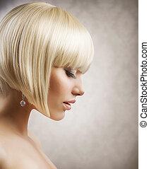 haircut., coiffure, girl, hair., sain, blonds, court, beau
